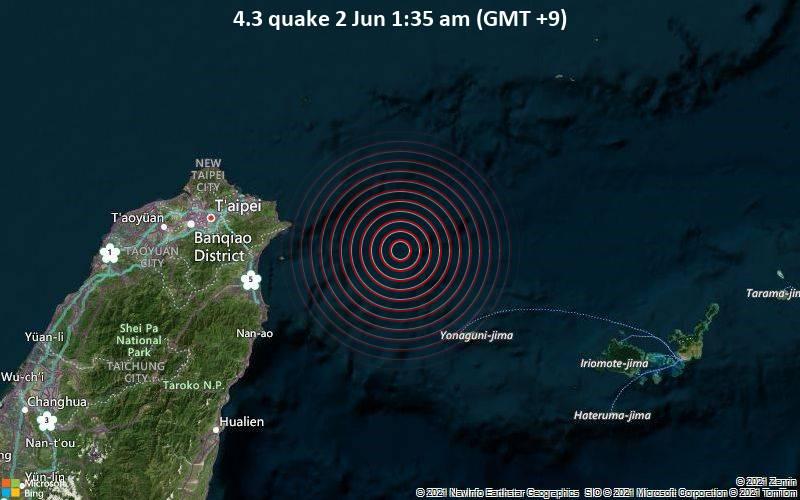 Moderates Erdbeben der Stärke 4.3 - East China Sea, Japan, 87 km östlich von Ilan, Taiwan, am Dienstag,  1. Jun 2021 um 16:35 GMT
