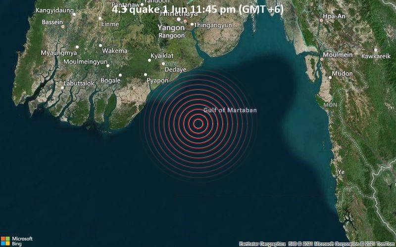 Moderates Erdbeben der Stärke 4.3 - Andaman Sea, 85 km südöstlich von Pyapon, Ayeyarwady Region, Myanmar, am Dienstag,  1. Jun 2021 um 17:45 GMT