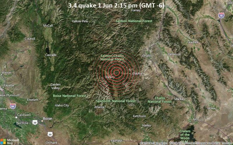 Leichtes Erdbeben der Stärke 3.4 - Custer County, 134 km nordöstlich von Boise, Ada County, Idaho, USA, am Dienstag,  1. Jun 2021 um 14:15 Lokalzeit
