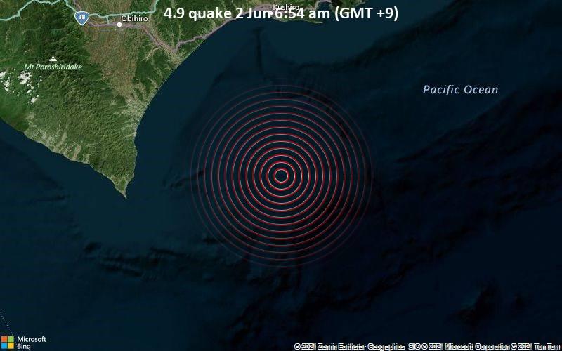 Moderates Erdbeben der Stärke 4.9 - Nordpazifik, 103 km südlich von Kushiro-shi, Kushiro Shi, Hokkaido, Japan, am Mittwoch,  2. Jun 2021 um 06:54 Lokalzeit