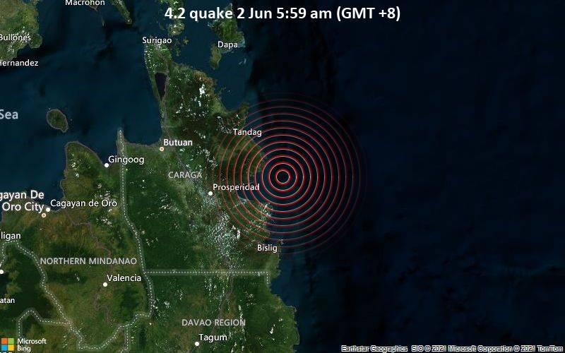 Leichtes Erdbeben der Stärke 4.2 - Philippines Sea, 48 km südöstlich von Tandag City, Philippinen, am Mittwoch,  2. Jun 2021 um 05:59 Lokalzeit