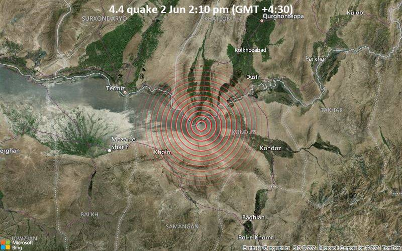 4.4 quake 2 Jun 2:10 pm (GMT +4:30)