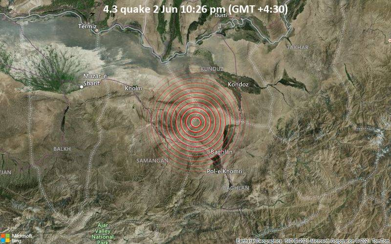4.3 quake 2 Jun 10:26 pm (GMT +4:30)