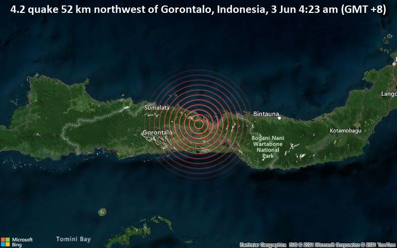 4.2 quake 52 km northwest of Gorontalo, Indonesia, 3 Jun 4:23 am (GMT +8)