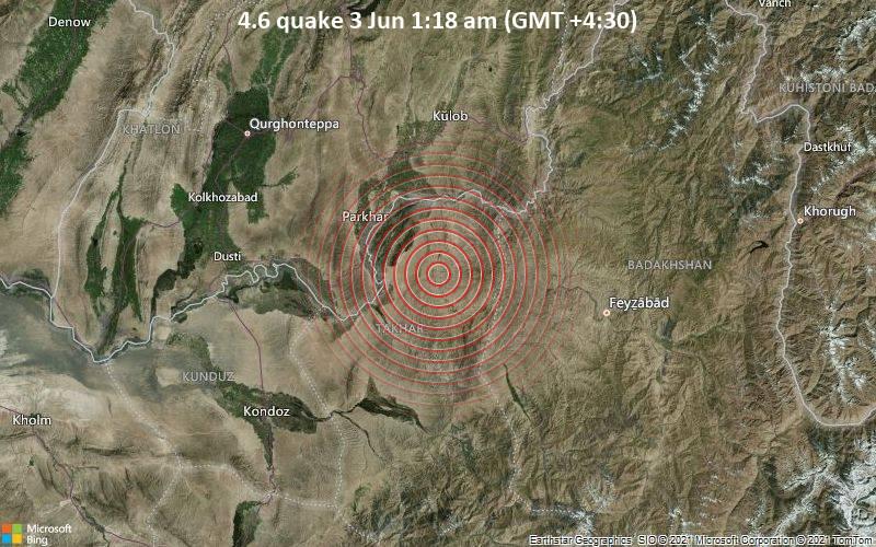 4.6 quake 3 Jun 1:18 am (GMT +4:30)