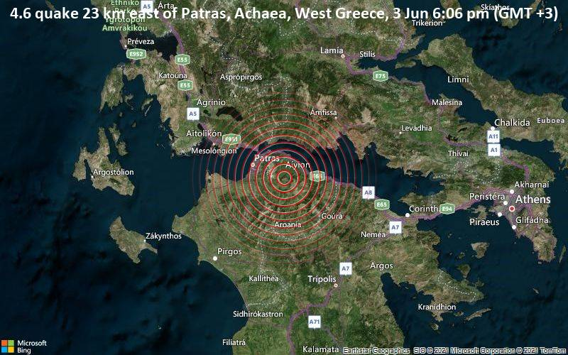 4.6 quake 23 km east of Patras, Achaea, West Greece, 3 Jun 6:06 pm (GMT +3)