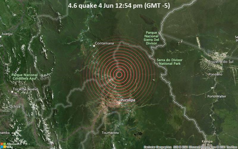 Leichtes Erdbeben der Stärke 4.6 - 57 km nördlich von Pucallpa, Provincia de Coronel Portillo, Ucayali, Peru, am Freitag,  4. Jun 2021 um 17:54 GMT