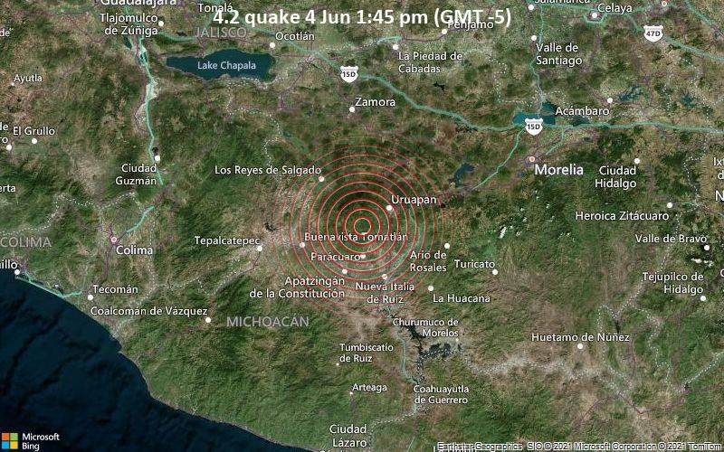 Moderates Erdbeben der Stärke 4.2 - Tancitaro, 21 km südwestlich von Uruapan, Michoacán, Mexiko, am Freitag,  4. Jun 2021 um 13:45 Lokalzeit