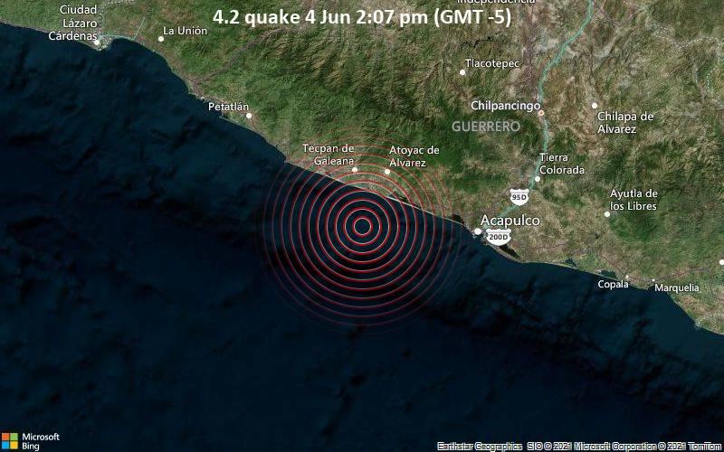 Moderates Erdbeben der Stärke 4.2 - Nordpazifik, 38 km südwestlich von Atoyac de Alvarez, Guerrero, Mexiko, am Freitag,  4. Jun 2021 um 14:07 Lokalzeit