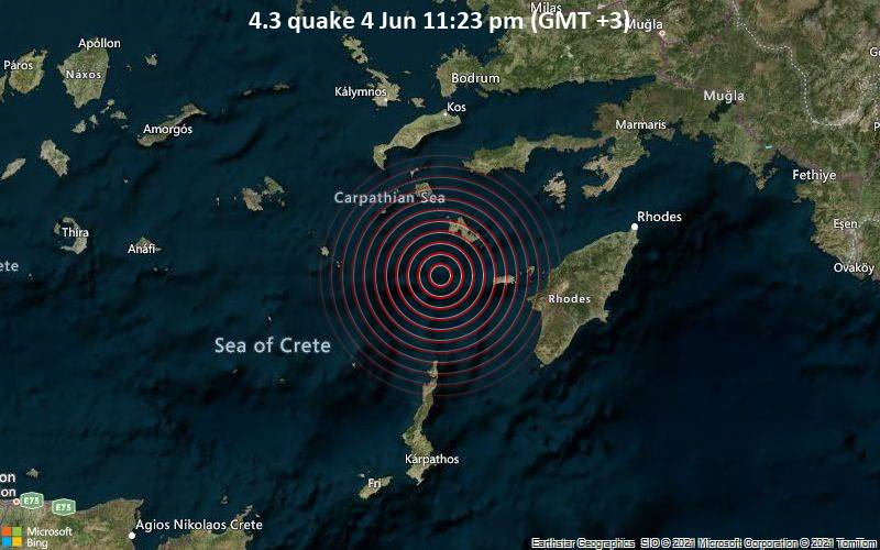 Leichtes Erdbeben der Stärke 4.3 - Ägäisches Meer, 72 km südlich von Kos Town, Griechenland, am Freitag,  4. Jun 2021 um 23:23 Lokalzeit