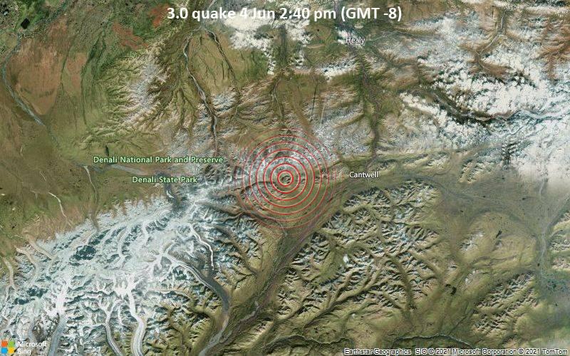 Sehr schwaches Beben Stärke 3.0 - Denali Parish, 59 km südwestlich von Healy, Denali, Alaska, USA, am Freitag,  4. Jun 2021 um 14:40 Lokalzeit
