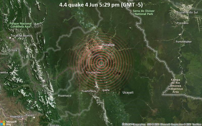 Leichtes Erdbeben der Stärke 4.4 - 39 km südlich von Pucallpa, Provincia de Coronel Portillo, Ucayali, Peru, am Freitag,  4. Jun 2021 um 22:29 GMT