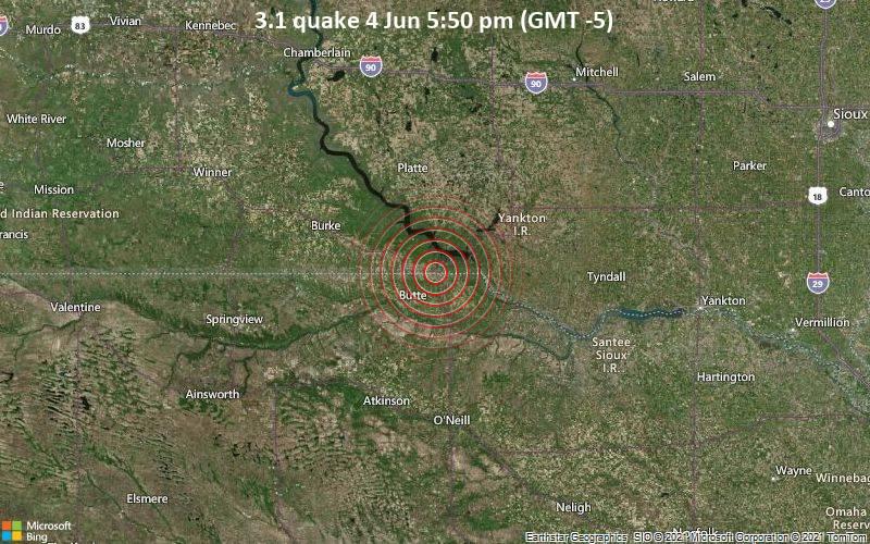 Leichtes Erdbeben der Stärke 3.1 - Boyd County, Nebraska, 97 km südwestlich von Mitchell, Davison County, South Dakota, USA, am Freitag,  4. Jun 2021 um 17:50 Lokalzeit