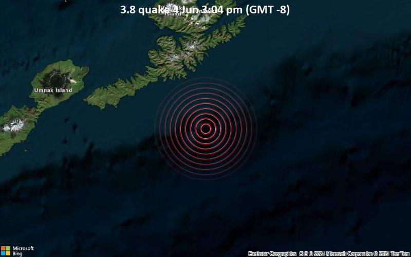 Leichtes Erdbeben der Stärke 3.8 - Nordpazifik, 84 km südlich von Unalaska, Aleutians West, Alaska, USA, am Freitag,  4. Jun 2021 um 15:04 Lokalzeit