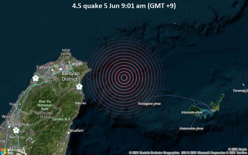 Moderates Erdbeben der Stärke 4.5 - East China Sea, Japan, 84 km östlich von Ilan, Taiwan, am Samstag,  5. Jun 2021 um 00:01 GMT