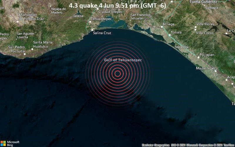 Moderates Erdbeben der Stärke 4.3 - Nordpazifik, 1 km südöstlich von Salina Cruz, Oaxaca, Mexiko, am Freitag,  4. Jun 2021 um 21:51 Lokalzeit
