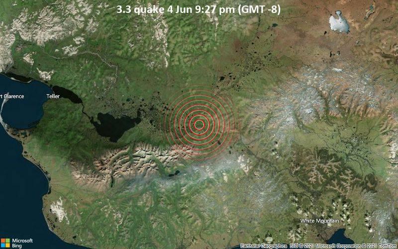 Leichtes Erdbeben der Stärke 3.3 - Nome Parish, 77 km nordöstlich von Nome, Alaska, USA, am Freitag,  4. Jun 2021 um 21:27 Lokalzeit
