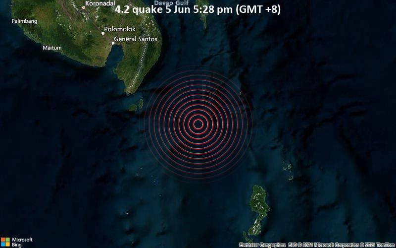 Leichtes Erdbeben der Stärke 4.2 - Philippines Sea, 144 km südöstlich von General Santos City, Philippinen, am Samstag,  5. Jun 2021 um 09:28 GMT