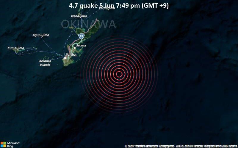 Moderates Erdbeben der Stärke 4.7 - Philippines Sea, 97 km südöstlich von Okinawa, Präfektur Okinawa, Japan, am Samstag,  5. Jun 2021 um 10:49 GMT