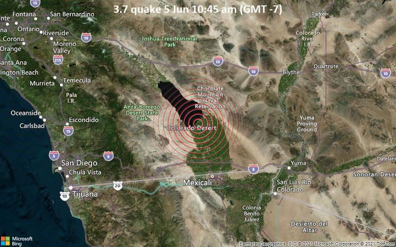 Moderates Erdbeben der Stärke 3.7 - 20 km nordwestlich von Brawley, Imperial County, Kalifornien, USA, am Samstag,  5. Jun 2021 um 10:45 Lokalzeit