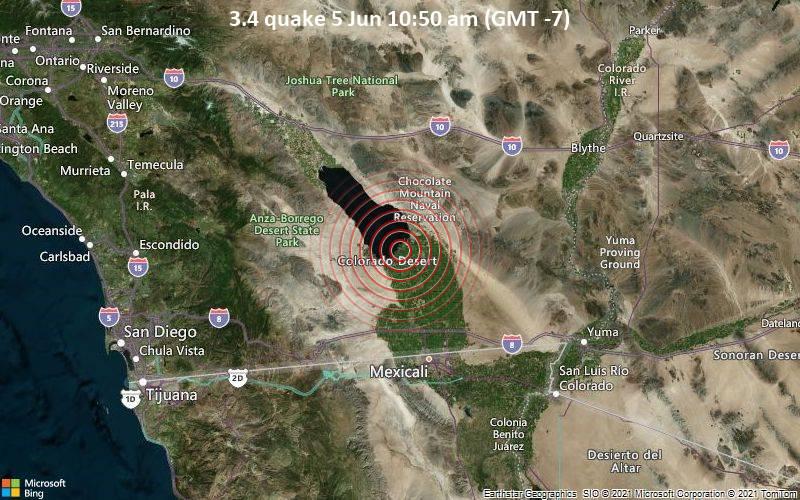 Leichtes Erdbeben der Stärke 3.4 - 21 km nordwestlich von Brawley, Imperial County, Kalifornien, USA, am Samstag,  5. Jun 2021 um 10:50 Lokalzeit