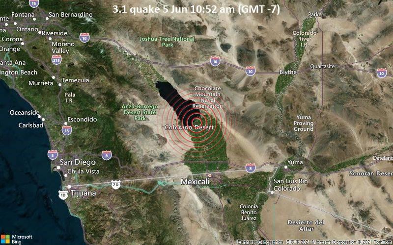 Leichtes Erdbeben der Stärke 3.1 - 20 km nordwestlich von Brawley, Imperial County, Kalifornien, USA, am Samstag,  5. Jun 2021 um 10:52 Lokalzeit