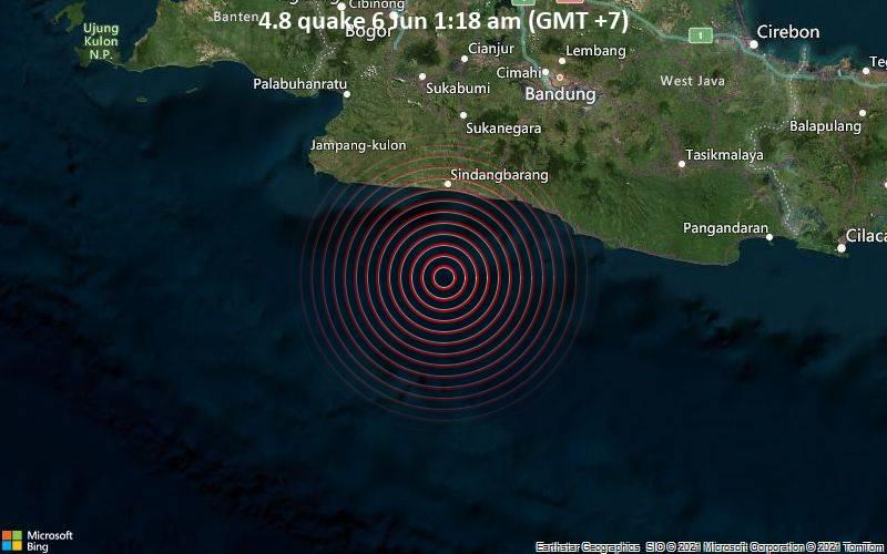Moderates Erdbeben der Stärke 4.8 - Indischer Ozean, 88 km südwestlich von Banjar, Westjava, Indonesien, am Samstag,  5. Jun 2021 um 18:18 GMT