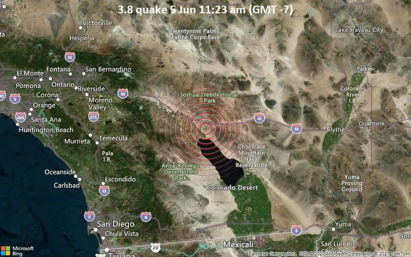 Leichtes Erdbeben der Stärke 3.8 - 23 km südöstlich von Indio, Riverside County, Kalifornien, USA, am Samstag,  5. Jun 2021 um 11:23 Lokalzeit