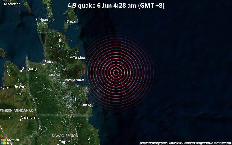 Moderates Erdbeben der Stärke 4.9 - Philippines Sea, 91 km nordöstlich von Bislig City, Philippinen, am Samstag,  5. Jun 2021 um 20:28 GMT