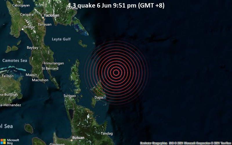 4.3 quake 6 Jun 9:51 pm (GMT +8)