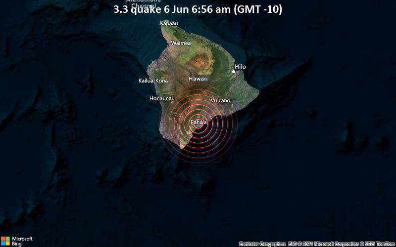 3.3 quake 6 Jun 6:56 am (GMT -10)