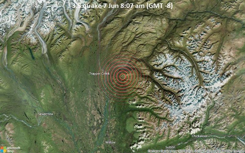 Schwaches Erdbeben Stärke 3.5 - Matanuska-Susitna Parish, 15 km nördlich von Susitna North, Matanuska-Susitna, Alaska, USA, am Montag,  7. Jun 2021 um 08:07 Lokalzeit