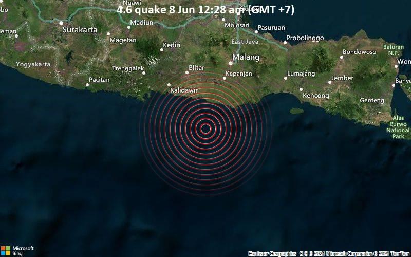 Leichtes Erdbeben der Stärke 4.6 - Indischer Ozean, 66 km südlich von Blitar, Ostjava, Indonesien, am Montag,  7. Jun 2021 um 17:28 GMT