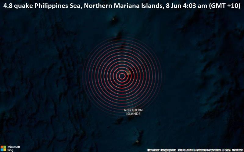 Leichtes Erdbeben der Stärke 4.8 - Philippines Sea, Nördliche Marianen, am Montag,  7. Jun 2021 um 18:03 GMT