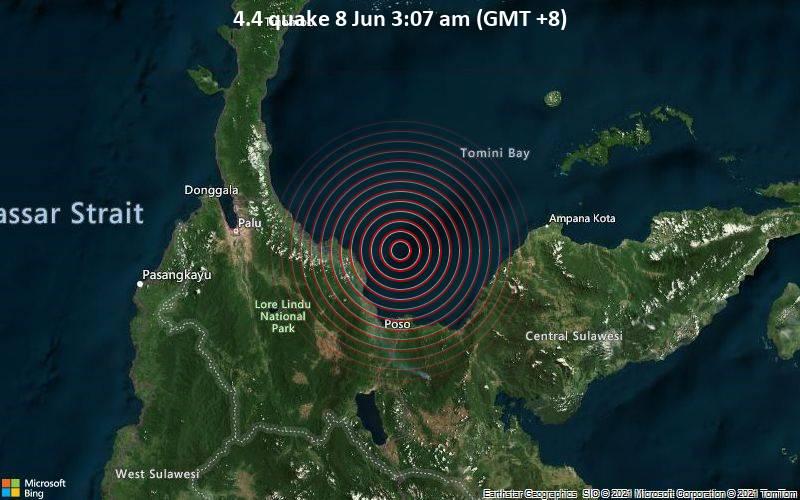 Moderates Erdbeben der Stärke 4.4 - Teluk Tomini, 44 km nördlich von Poso, Sulawesi Tengah, Indonesien, am Montag,  7. Jun 2021 um 19:07 GMT