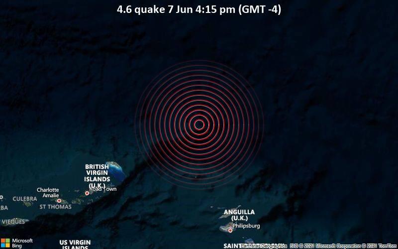 Moderates Erdbeben der Stärke 4.6 - North Atlantic Ocean, 108 km nördlich von The Valley, Anguilla, am Montag,  7. Jun 2021 um 20:15 GMT