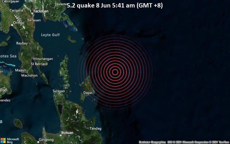 Starkes Magnitude 5.2 Erdbeben - Philippines Sea, 124 km östlich von Surigao City, Philippinen, am Montag,  7. Jun 2021 um 21:41 GMT