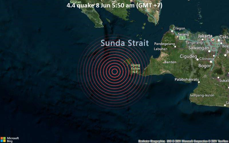 Moderates Erdbeben der Stärke 4.4 - Indischer Ozean, 153 km südwestlich von Serang, Banten, Indonesien, am Montag,  7. Jun 2021 um 22:50 GMT