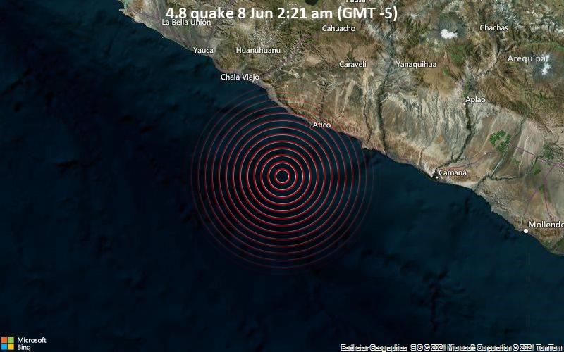 Moderates Erdbeben der Stärke 4.8 - South Pacific Ocean, 129 km westlich von Camana, Arequipa, Peru, am Dienstag,  8. Jun 2021 um 07:21 GMT
