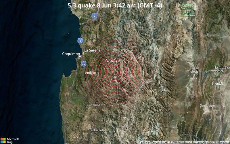 Moderates Erdbeben der Stärke 5.3 - Limarí, 67 km südöstlich von La Serena, Provincia de Elqui, Coquimbo Region, Chile, am Dienstag,  8. Jun 2021 um 07:42 GMT