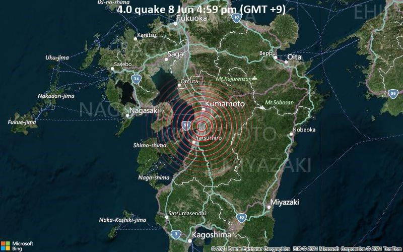 Moderates Erdbeben der Stärke 4.0 - Uki Shi, 16 km südlich von Kumamoto, Präfektur Kumamoto, Japan, am Dienstag,  8. Jun 2021 um 16:59 Lokalzeit