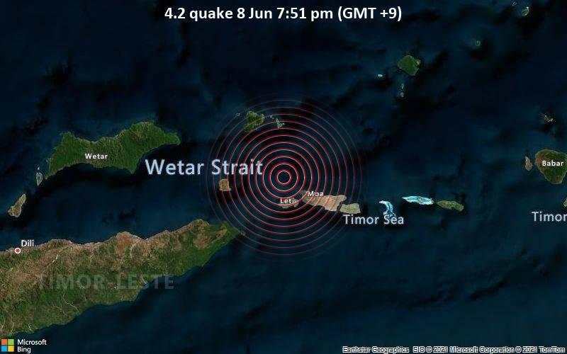 Leichtes Erdbeben der Stärke 4.2 - Banda Sea, 91 km nordöstlich von Lospalos, Lautém, Timor-Leste, am Dienstag,  8. Jun 2021 um 10:51 GMT
