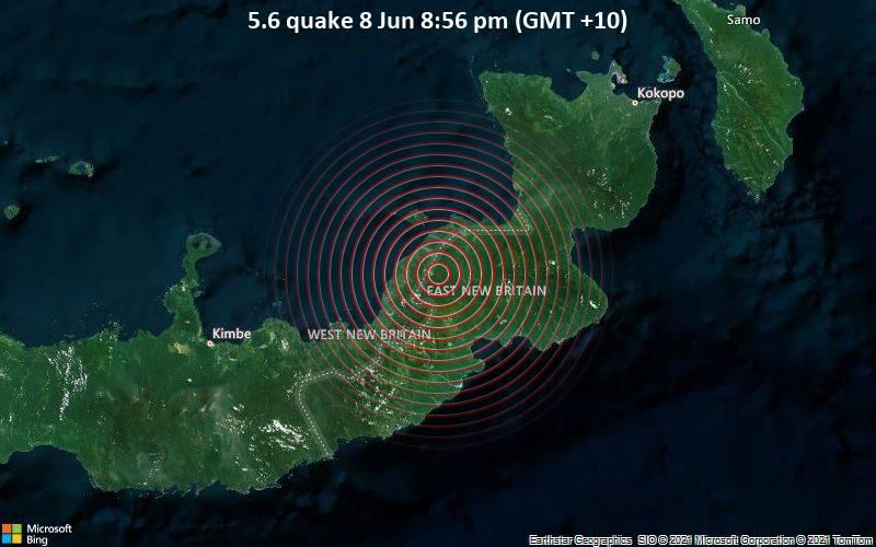 Moderates Erdbeben der Stärke 5.6 - 145 km südwestlich von Herbertshöhe, Papua-Neuguinea, am Dienstag,  8. Jun 2021 um 10:56 GMT