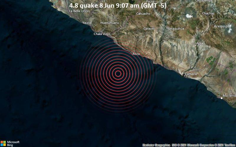 Moderates Erdbeben der Stärke 4.8 - South Pacific Ocean, 258 km westlich von Arequipa, Peru, am Dienstag,  8. Jun 2021 um 14:07 GMT
