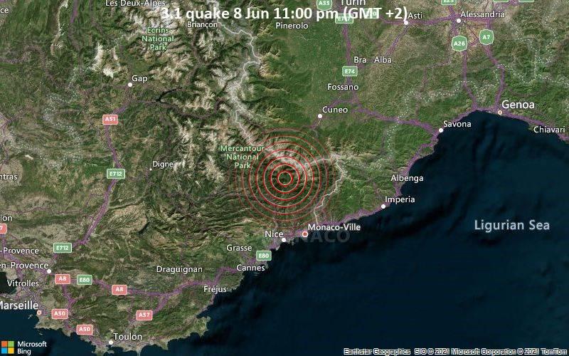 Leichtes Erdbeben der Stärke 3.1 - 39 km nördlich von Nizza, Frankreich, am Dienstag,  8. Jun 2021 um 23:00 Lokalzeit