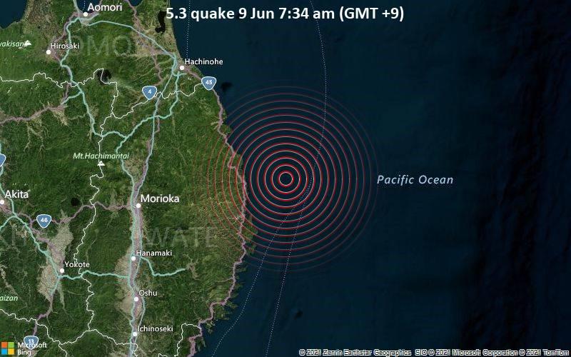Starkes Magnitude 5.3 Erdbeben - Nordpazifik, 38 km nordöstlich von Miyako, Präfektur Iwate, Japan, am Mittwoch,  9. Jun 2021 um 07:34 Lokalzeit