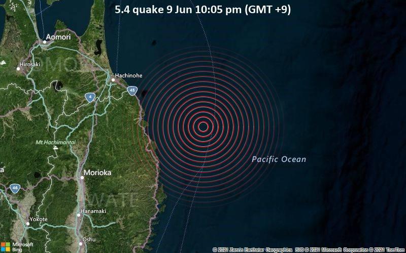 5.4 quake 9 Jun 10:05 pm (GMT +9)