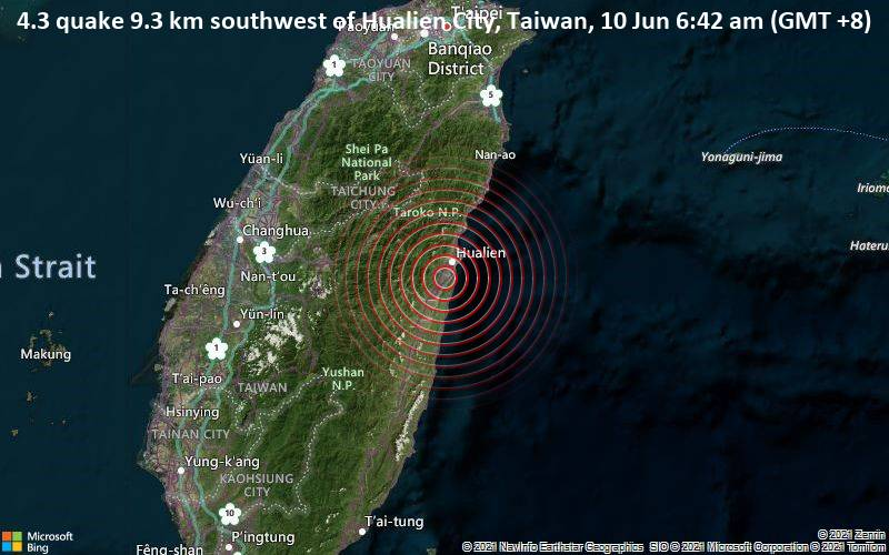 4.3 quake 9.3 km southwest of Hualien City, Taiwan, 10 Jun 6:42 am (GMT +8)