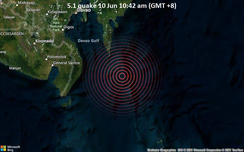 5.1 quake 10 Jun 10:42 am (GMT +8)