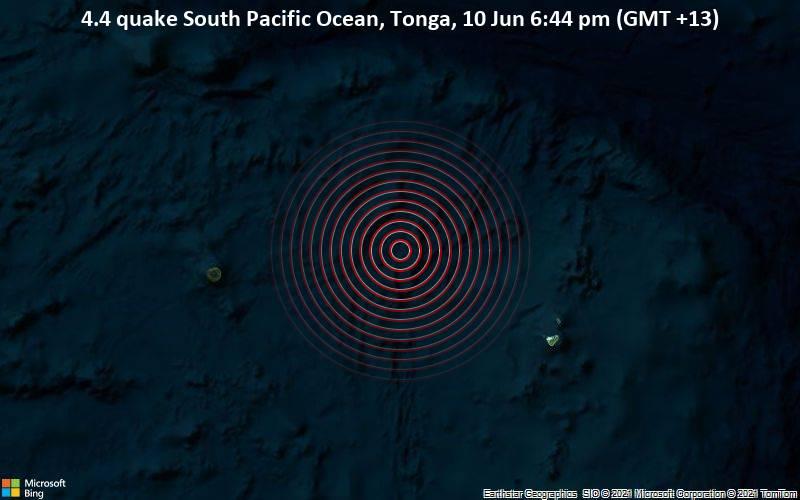 4.4 quake South Pacific Ocean, Tonga, 10 Jun 6:44 pm (GMT +13)
